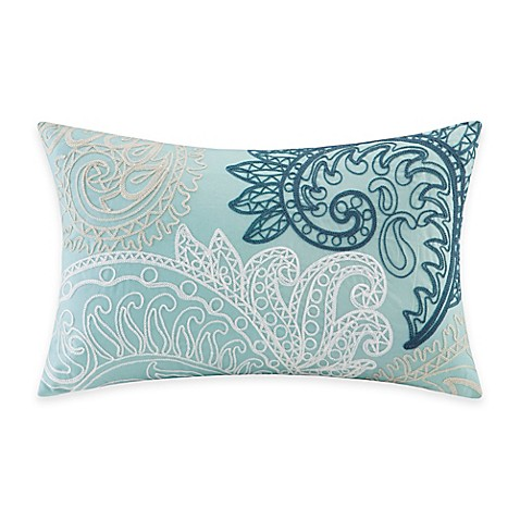 Blue Rectangular Throw Pillows : INK+IVY Mira Embroidered Oblong Throw Pillow in Blue - Bed Bath & Beyond