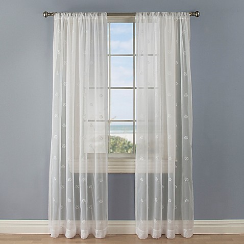 Crossed Anchors Rod Pocket Sheer Window Curtain Panel In