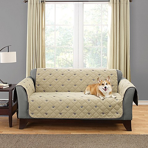 Sure Fit Deluxe Embroidered Pet Furniture Cover In Tan