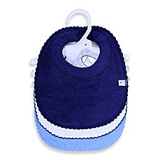 image of Frenchie Mini Couture 3-Pack Milk Catcher Boy's Bibs in Blue/White