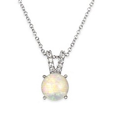image of Chi Chi Sterling Silver Cubic Zirconia and Lab-Created Opal 18-Inch Chain Solitaire Pendant Necklace
