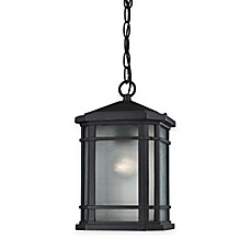 image of Elk Lighting Lowell 1-Light Outdoor Pendant in Matte Black with Ribbed Glass Shade