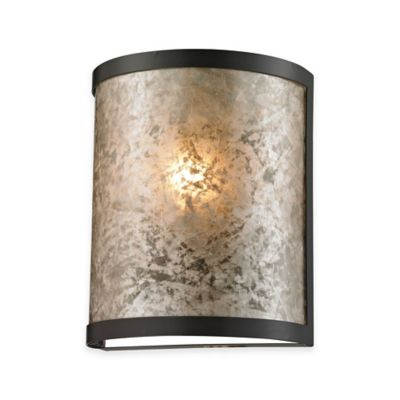 Buy Elk Lighting Mica 9-Inch 1-Light Wall Sconce in Oil-Rubbed Bronze with Glass Shade from Bed ...