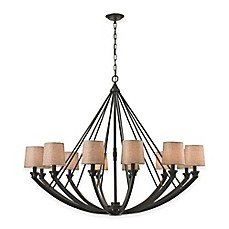 image of ELK Lighting Morrison 12-Light Chandelier in Oil-Rubbed Bronze with Linen Shade