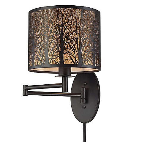 Buy elk lighting woodland sunrise swingarm wall sconce in oil rubbed bronze from bed bath beyond for Bathroom wall sconces oil rubbed bronze