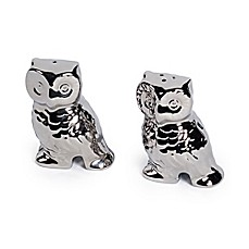 image of Studio TU® by Tabletops Unlimited® Sterling 3D Owl Salt and Pepper Shaker Set in Silver