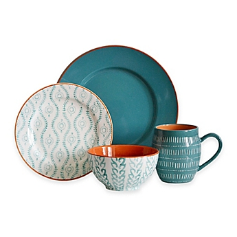 image of Baum Tangiers 16-Piece Dinnerware Set in Turquoise  sc 1 st  Bed Bath \u0026 Beyond : fall dinnerware sets - pezcame.com