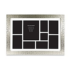 image of 9 photo collage picture frame in silver tile finish