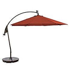 Elegant Image Of 11 Foot Round Solar Cantilever Umbrella In Sunbrella® Fabric