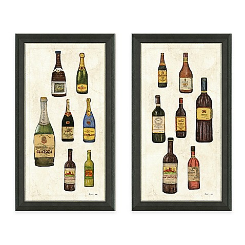 Framed gicl e wine bottles panel print wall art collection for Wall decor wine bottles