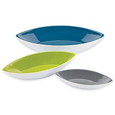 image of Dansk® The Burbs Decal Blue 3-Piece Canoe Bowl Set in White/Blue/Green/Slate