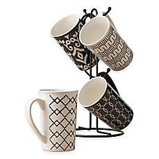 image of Tabletops Gallery® Mason 5-Piece Mug Tree Set in Black/White