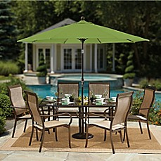 Image Of 9 Foot Round Auto Tilt Aluminum Market Umbrella In Sunbrella®  Fabric