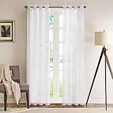Madison Park Wynn 84 Inch Grommet Top Sheer Window Curtain Panel In White