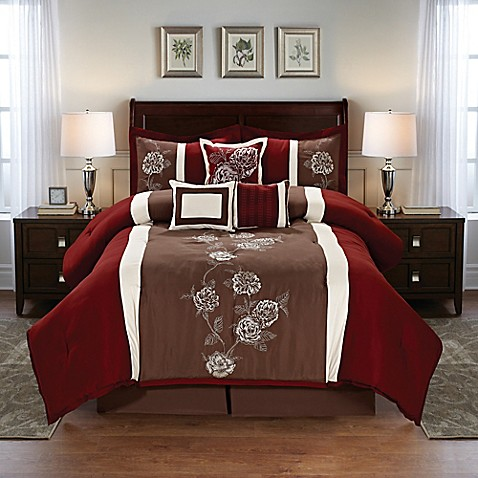 Buy floral 7 piece queen comforter set in burgundy brown 7 piece queen bedroom furniture sets