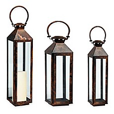 image of Cambridge Classic Lantern Candle Holder in Brushed Copper