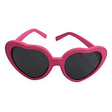 image of On The Verge Heart Shaped Rubber Sunglasses in Hot Pink