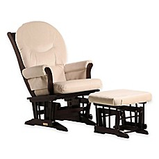 image of Dutailier® Ultramotion Round Back Sleigh Glider and Ottoman in Espresso/Light Beige