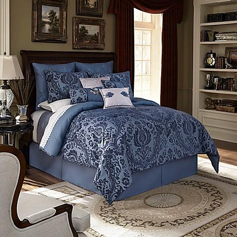 Downton Abbey 174 Aristocrat Comforter Set In Dark Blue Bed