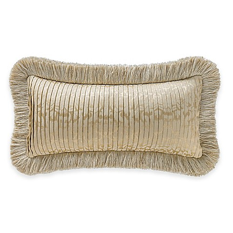 Buy Waterford Linens Marcello Pleated Damask Oblong Throw Pillow in Gold from Bed Bath & Beyond