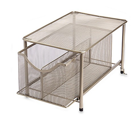 ORG Large Under The Sink Mesh Slide Out Cabinet Drawer With Shelf