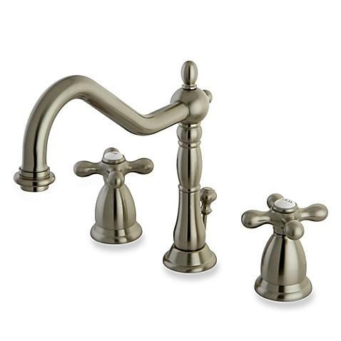 Buy kingston brass heritage 2 handle widespread bathroom faucet in satin nickel from bed bath for Satin nickel widespread bathroom faucet