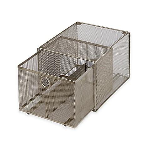 org large steel mesh stacking drawer bed bath beyond. Black Bedroom Furniture Sets. Home Design Ideas