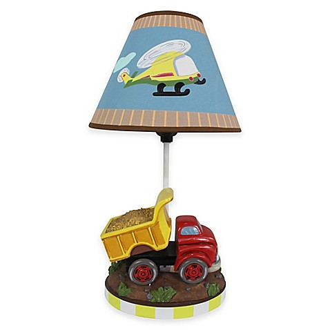 Teamson fantasy fields transportation kids table lamp with canvas shade