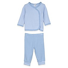 image of Splendid® 2-Piece Long Sleeve Striped Kimono Top and Pant Set in Blue