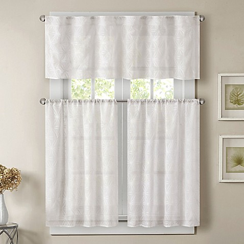 Buy Madison Park Gemma 36Inch Sheer Window Curtain Tier Pair from Bed Bath u0026 Beyond