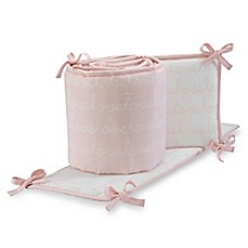 image of Lambs & Ivy® Sweetheart 4-Piece Crib Bumper in Pink/White