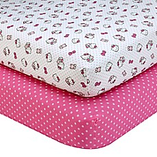 image of Hello Kitty® Cute as a Button 2-Pack Fitted Crib Sheets
