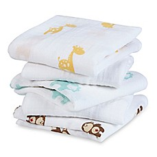image of aden® by aden + anais® 5-Pack Safari Friends Musy Muslin Squares in Flax