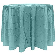 image of Bombay Diamond-Stitched Pintuck Round Tablecloth