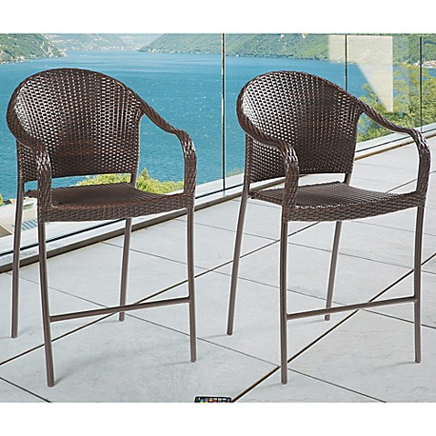 Image Of Barrington Wicker Stacking Bar Chairs (Set Of 2)