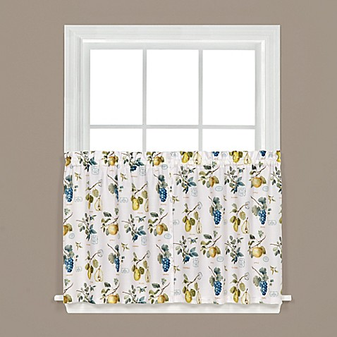Buy botanical fruit 36 inch kitchen window curtain tiers in white from bed bath beyond for 36 inch bathroom window curtains
