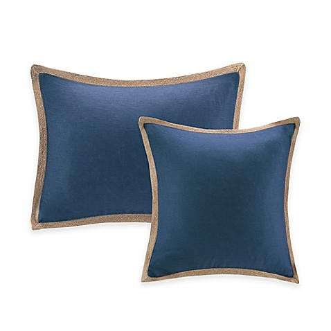 Madison Park Jute Trim Pillow in Navy - Bed Bath & Beyond