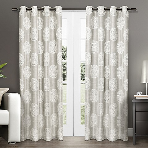 buy akola 84 inch grommet top window curtain panel pair in dove grey from bed bath beyond. Black Bedroom Furniture Sets. Home Design Ideas