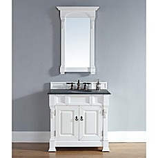 image of James Martin Furniture Brookfield 36-Inch Single Vanity with Doors and Stone Top in Cottage White
