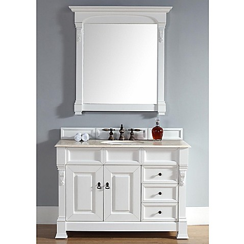 brookfield 48 inch single vanity with drawers in cottage white with