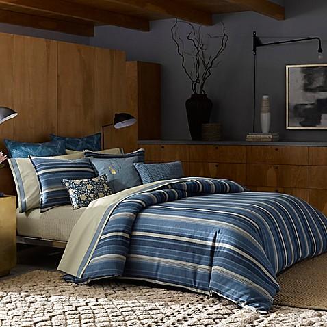Ed Ellen Degeneres Azur Stripe Comforter In Indigo Bed