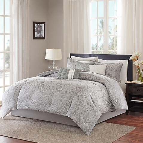 Madison Park Averly 7 Piece Comforter Set In Grey Bed
