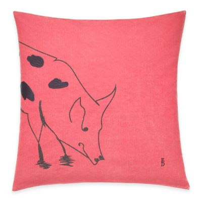 image of ED Ellen DeGeneres Pig Throw Pillow in Washed Red