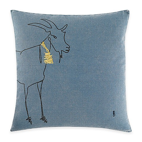 ED Ellen DeGeneres Goat Square Throw Pillow in Medium Blue - Bed Bath & Beyond