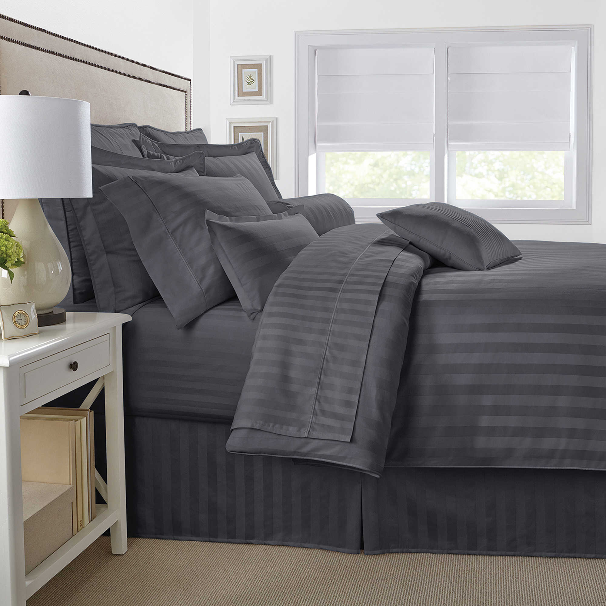 Britannica home fashions tencel sheets - Image Of 500 Thread Count Damask Stripe Reversible Duvet Cover Set