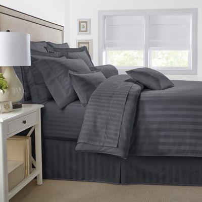 image of damask stripe reversible duvet cover set
