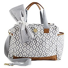 image of mud pie bigger bundle geo dot diaper bag in grey - Baby Diaper Bags