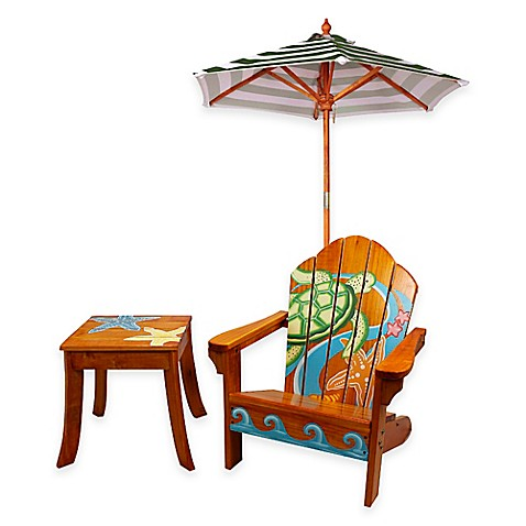 Teamson Kids Outdoor Table And Chair Set With Umbrella In
