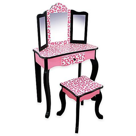 Buy Teamson Kids Pink Leopard Vanity Table And Stool Set