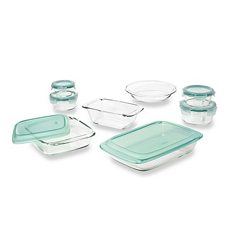 OXO Good Gripsu0026reg; 14 Piece Glass Baking Dish Set With Lids In Green